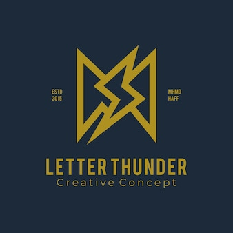 Logo letter m with thunder vintage style