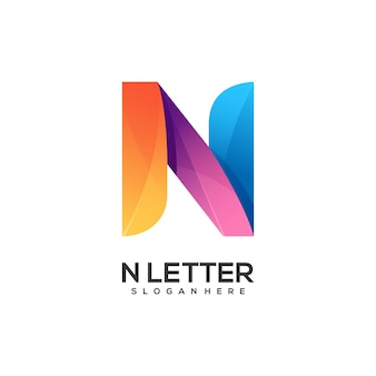 Logo letter n gradient colorful