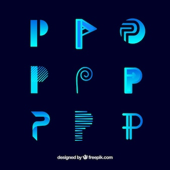 Logo letter p template collection