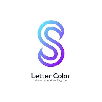 로고 문자 s 그라데이션 다채로운 현대적인 스타일