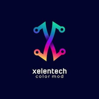 로고 문자 x 기술 그라데이션 다채로운