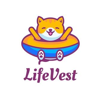 Logo  life vest simple mascot style.