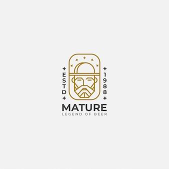 Logo line art of old man,