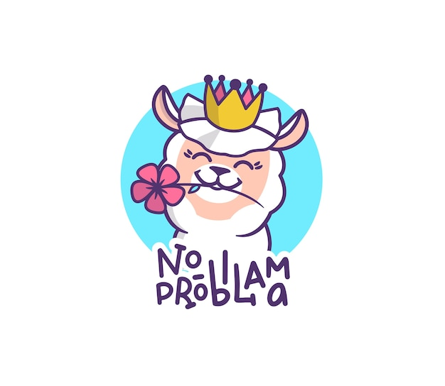 The logo llama with a flower in a crown. cartoonish character with lettering phrase - no probllama.