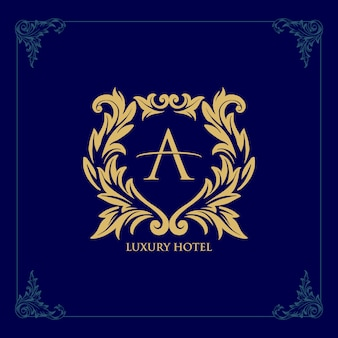 Logo luxury hotel template  golden line icon