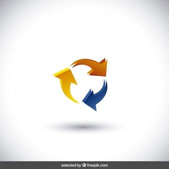 円形で3つの矢印で作られたロゴ