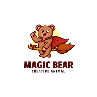 Logo magic bear mascot cartoon style