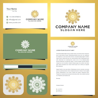 Logo mandala and business card premium