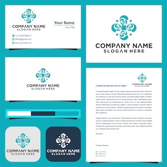Logo mandala element business sign with and business card premium