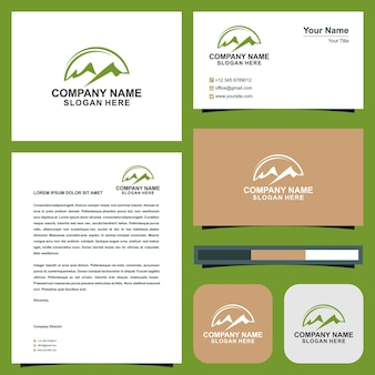 Logo maountain  and business card