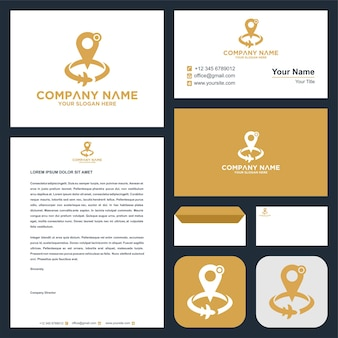 Логотип карты на визитной карточке премиум логотип премиум векторы