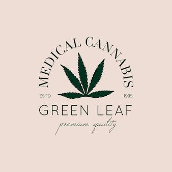 トレンディなミニマルリニアスタイルのロゴマリファナリーフ。医療大麻緑の葉のシルエットのバッジ。ブランディング、ウェブデザイン、パッケージングのための麻のベクトルアイコン
