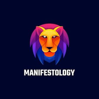 Логотип талисман лев градиент красочный стиль.