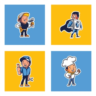Logo mascot set illustration