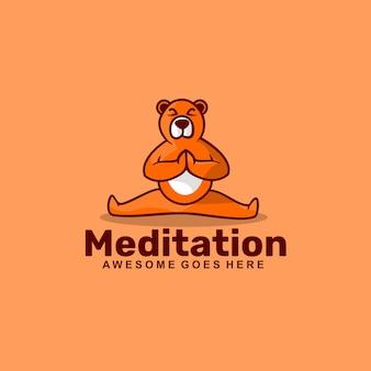 Logo  meditation simple mascot style.