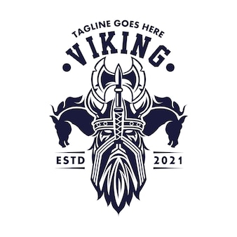 Logo the men vikings two horse for business  entertainment  media and restaurant cafe