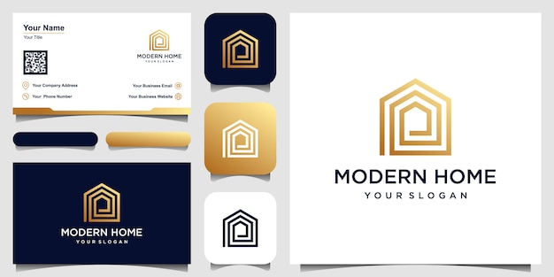 Logo modern home   for construction, home, real estate, building, property. minimal awesome trendy professional logo design template and business card design