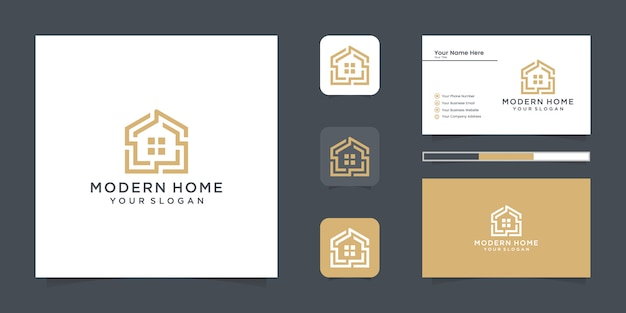 Logo modern home for construction, home, real estate, building, property. minimal awesome trendy professional logo design template and business card