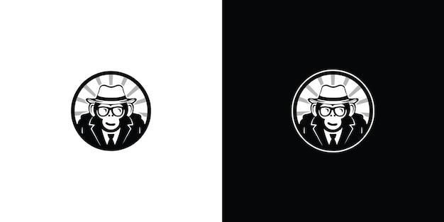Logo monkey simple mascot style premium vector