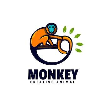 로고 원숭이 간단한 마스코트 스타일
