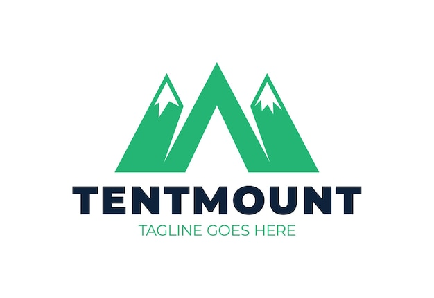 Logo of mountains in style of m or a and camping tent icon. camp logotype