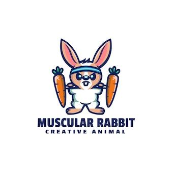 Логотип мускулистый кролик талисман мультяшном стиле