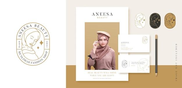 로고 무슬림 히잡 라인 아트 패션 로고 및 명함 디자인