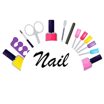 The logo of the nail salon . digital background. the concept of beauty.