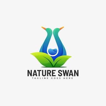 Логотип природа лебедь градиент красочный стиль.