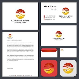 Логотип сети или кабель на визитной карточке премиум векторы
