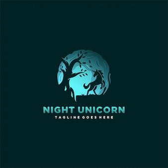 Logo  night unicorn silhouette