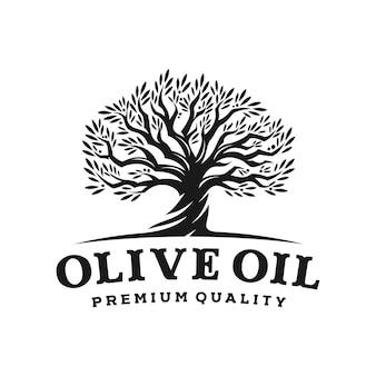 Логотип оливкового дерева в винтажном стиле