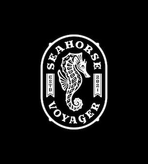 Логотип морского конька в винтажном стиле