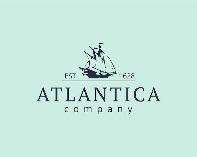 大西洋のロゴ。船のアイコンベクトル図
