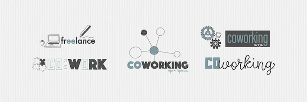 Logo for office or workspace in hand drawing style coworking and freelance concept