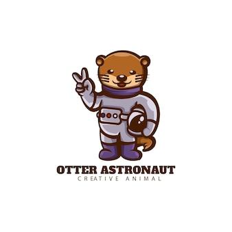 Logo otter astronaut mascot cartoon style