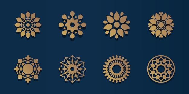 派手な装飾や装飾品のためのロゴパックの幾何学と金の曼荼羅。