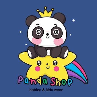 Logo panda bear cartoon on rainbow star  for kid wear store kawaii animal