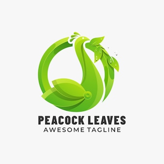 Logo peacock leaves gradient colorful style.