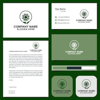 Логотип люди цветы и визитная карточка
