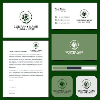 Logo peopel flowers and business card