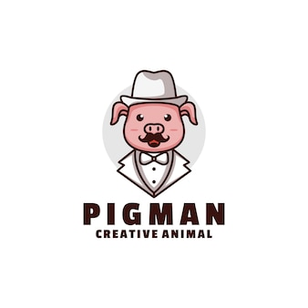 로고 돼지 마스코트 만화 스타일.