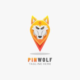 Логотип pin волк градиент красочный стиль.