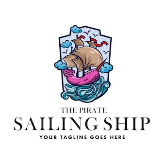 Logo pirate sailing ship general good for any industry