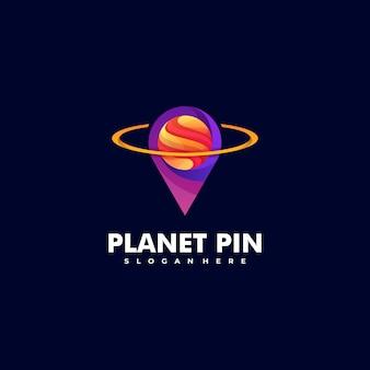 Логотип planet pin градиент красочный стиль.