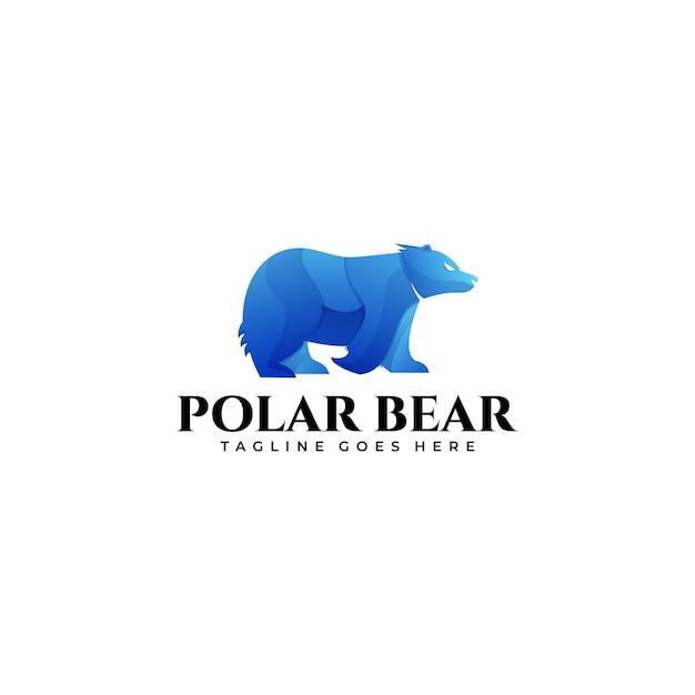Logo polar bear mascot gradient colorfull