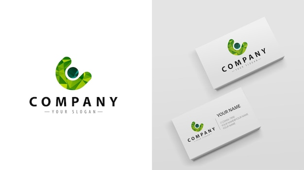 Logo polygon with the letter c. template of business cards with a logo