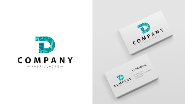 Logo polygon with the letter d. template of business cards with a logo
