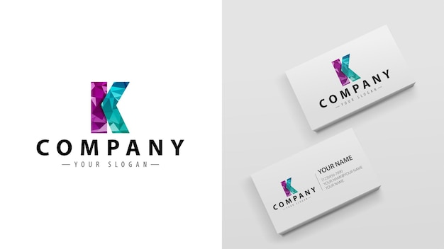 Logo polygon with the letter k. template of business cards with a logo