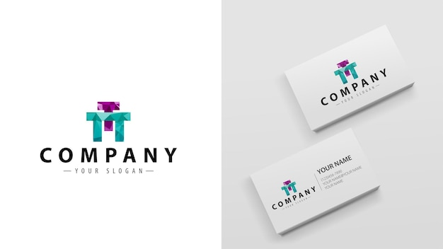 Logo polygon with the letter t. template of business cards with a logo